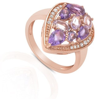 Dolce Giavonna Gold Over Sterling Silver Multi Gemstone and Cubic Zirconia Pear Shape Ring