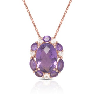 Dolce Giavonna Rose Gold Over Sterling Silver Amethyst and Cubic Zirconia Necklace