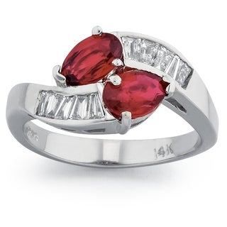 14k White Gold 2/5ct TDW Diamond and Ruby Gemstone Ring (G-H, SI1-SI2)