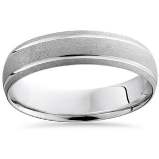 10k White Gold Men's Brushed Double Inlay Wedding Band