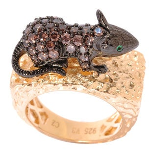Sterling Silver Simulated Brown and Green Cubic Zirconia Mouse Ring