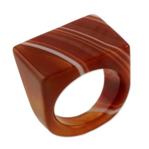 Handmade Agate 'Caramel Sunset' Ring (Brazil)