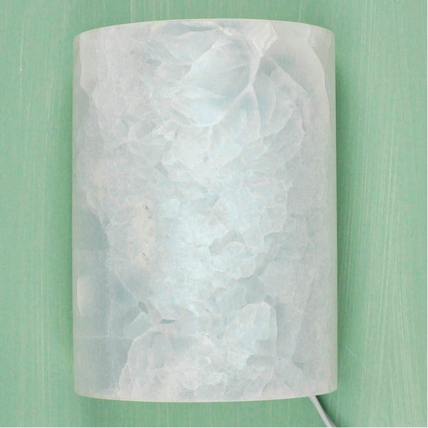 Handcrafted Onyx Puebla Twilight White Stone Wall Sconce (Mexico)