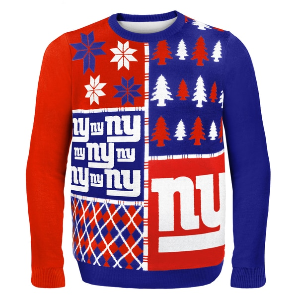 Forever Collectibles NFL New York Giants Busy Block Ugly Sweater