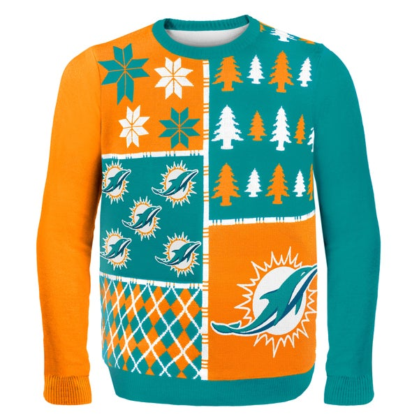 Miami Dolphins Busy Block Ugly Sweater