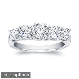 Auriya 14k Gold 1 1/2ct TDW 5-stone Round Diamond Anniversary Ring|https://ak1.ostkcdn.com/images/products/9482196/P16663841.jpg?impolicy=medium