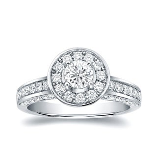 14k White Gold 1 1/2ct TDW Vintage Diamond Halo Engagement Ring by Auriya