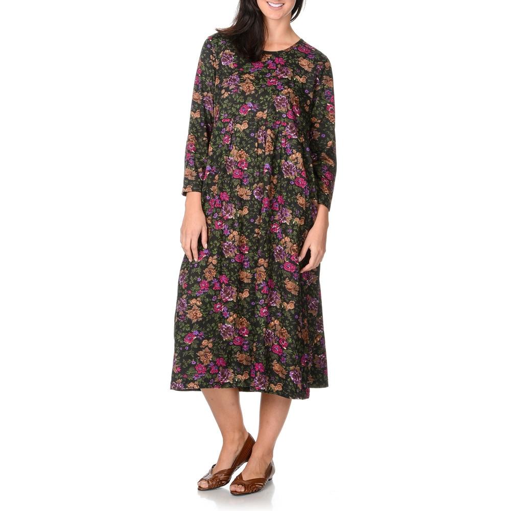 La Cera Womens Magenta and Black Floral Print Dress