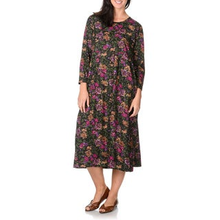 La Cera Women's Magenta and Black Floral Print Dress
