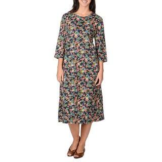 La Cera Women's Navy Floral Print Mid-length Dress