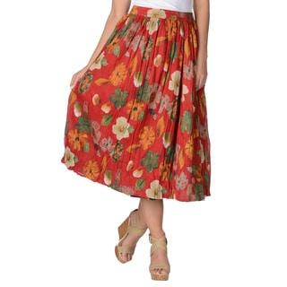 La Cera Women's Floral Print Reversible Cotton Crinkle Skirt