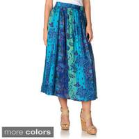 La Cera Women's Blue Floral Print Reversible Crinkle Skirt
