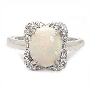 De Buman Sterling Silver 8 mm wide x 10 mm long Genuine Opal Ring (More options available)