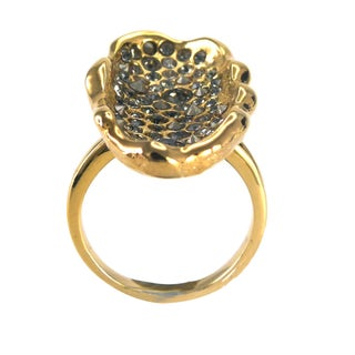 De Buman 18k Gold Plated Round-shaped Black Czech Ring (3 options available)