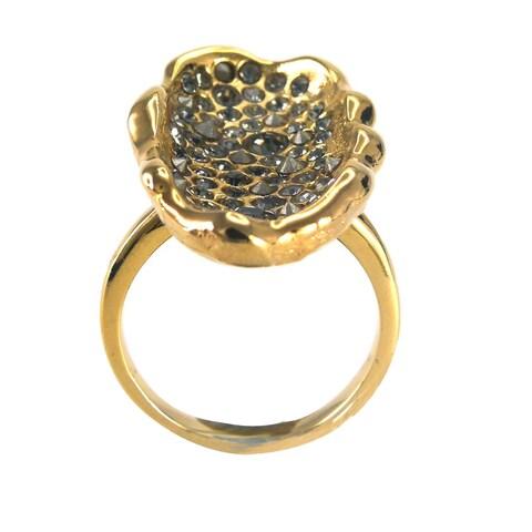De Buman 18k Gold Plated Round-shaped Black Czech Ring