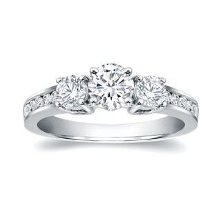 Auriya 14k Gold 1 1/3ct TDW Certified 3-Stone Diamond Engagement Ring