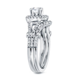 Auriya 14k Gold 1 1/2ct TDW Certified Diamond Bridal Ring Set