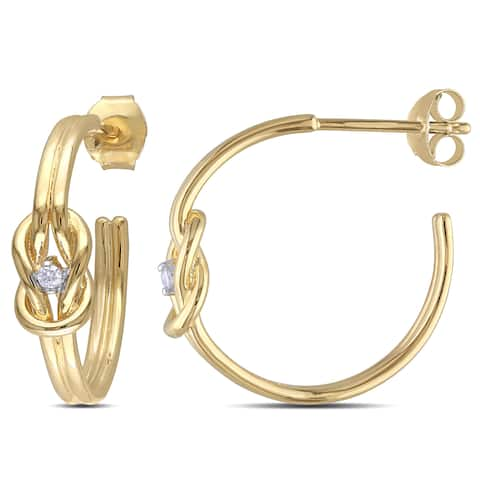 Miadora Yellow Plated Silver Diamond Accent Love Knot Infinity Hoop Earrings