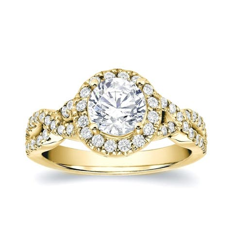 Auriya 14k Gold Modern Round 1 1/4ctw Halo Diamond Engagement Ring Certified