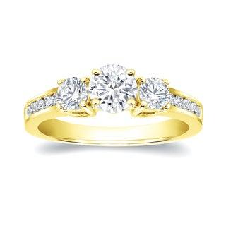 Auriya 14k Gold 1 3/5ct TDW Round Diamond Three Stone Ring