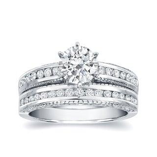 Auriya Vintage Inspired 1 1 4ct TDW Round Diamond Engagement Ring Set 14k Gold Certified