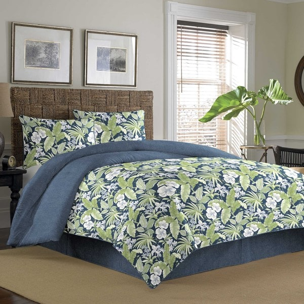 Tommy Bahama Key Largo Place Indigo 3-piece Cotton Duvet Cover Set