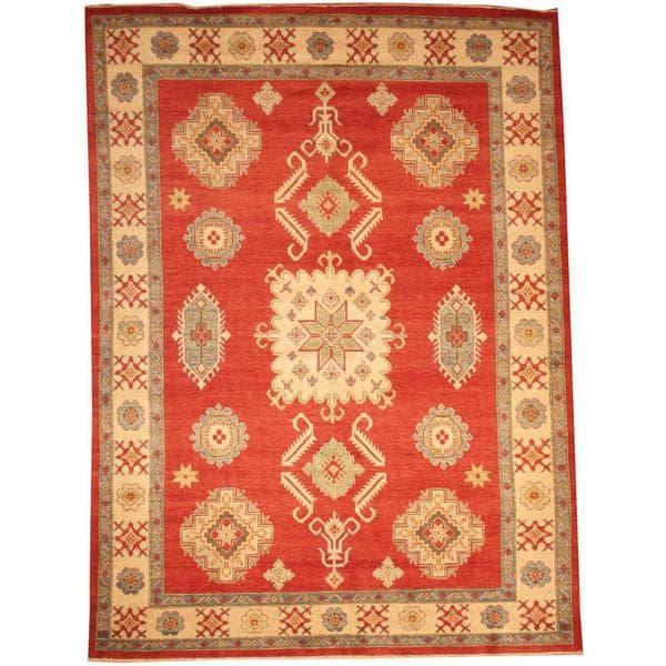 Herat Oriental Afghan Hand-knotted Tribal Kazak Red/ Ivory Wool Rug (8'5 x 11'5)