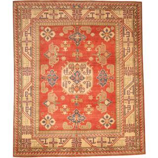 Herat Oriental Afghan Hand-knotted Tribal Kazak Red/ Ivory Wool Rug (7'9 x 9'5)