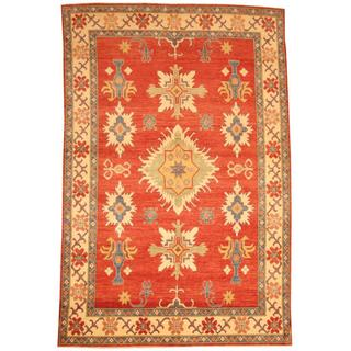 Herat Oriental Afghan Hand-knotted Tribal Kazak Red/ Ivory Wool Rug (7'2 x 10'9)