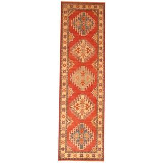 Herat Oriental Afghan Hand-knotted Tribal Kazak Red/ Ivory Wool Rug (2'8 x 9'4)