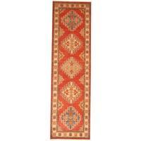 Herat Oriental Afghan Hand-knotted Tribal Kazak Red/ Ivory Wool Rug (2'8 x 9'4) - 2'8 x 9'4