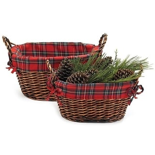 Wald Imports Dark Brown Willow Baskets (Set of 2)