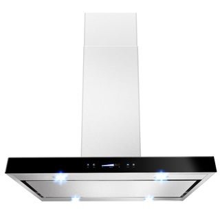 "AKDY 36"" Island Mount Stainless Steel Black Color Touch Control Low Noise Range Hood - Silver"