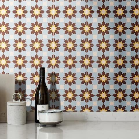 Handmade Ahfir in Brown, Blue, Yellow Tile, Pack of 12 (Morocco)