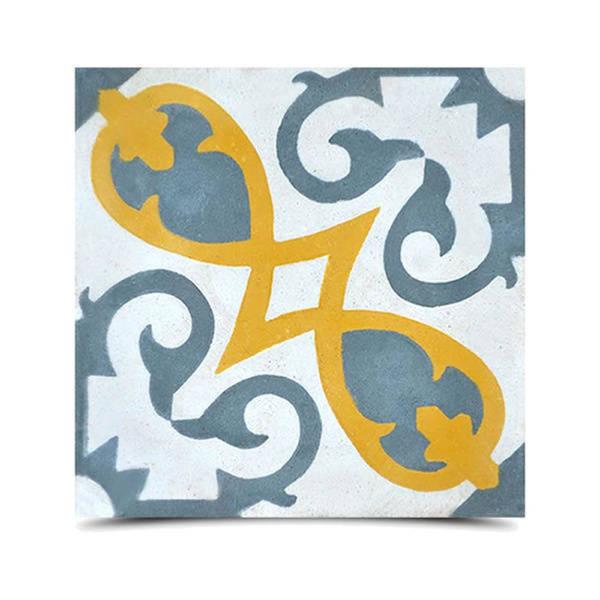 Agadir Royal Yellow, Dark Grey Handmade 8x8in Moroccan Tile, Pack 12