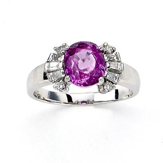 Diamonds for a Cure by Neda Behnam 14k White Gold 3/8ct TDW Diamond and Pink Tourmaline Ring (H-I, SI1-SI2)