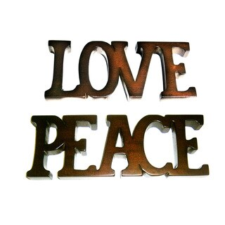 D-Art Handmade 'Love' and 'Peace' Solid Mahogany Wood Decorative Signs (Indonesia)