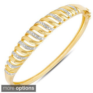 Finesque Yellow or Rose Gold Overlay Diamond Accent Stripe Bangle