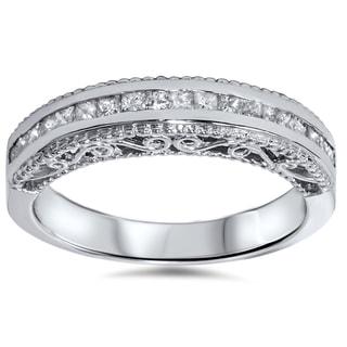 14k White Gold 1/ 2ct TDW Princess-cut Vintage-inspired Diamond Band (I-J, I2-I3)