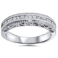 14k White Gold 1/ 2ct TDW Princess-cut Vintage-inspired Diamond Band