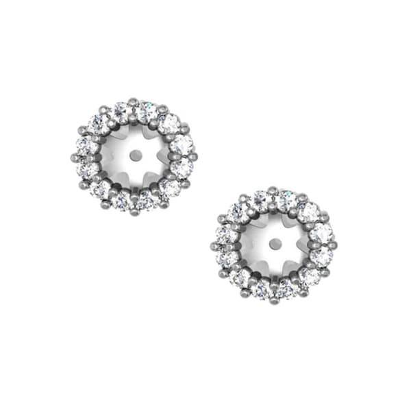 14k White Gold 1 2ct Tdw Halo Diamond Stud Earring Jackets