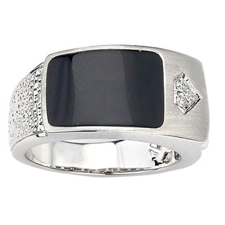 Neda Behnam 14k Gold Black Onyx and Diamond Accent Ring
