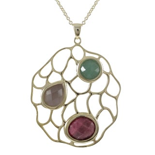 Luxiro Goldplated Sterling Silver Multi-colored Gemstone Filigree Pendant Necklace