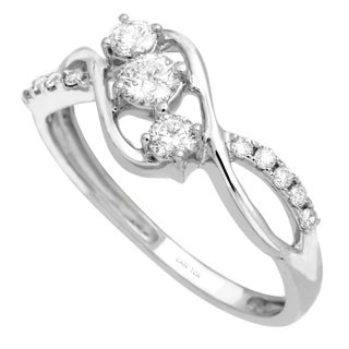 Nili 10k White Gold 1/2ct TDW 3-stone Diamond Ring (H, SI2)