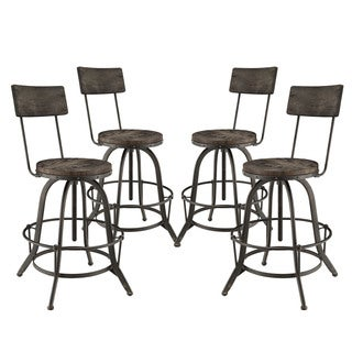 Procure Metal and Pine Bar Stools (Set of 4)