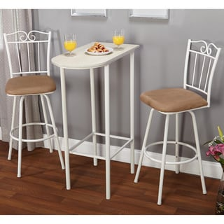 Simple Living 3-piece White Ortega Pub Set