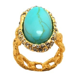 De Buman 18k Gold Plated Oval Turquoise Ring