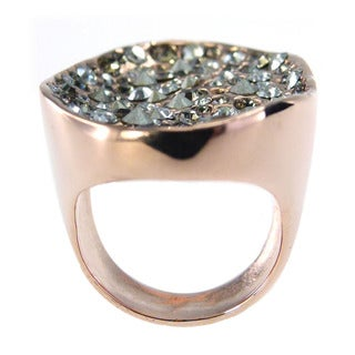 De Buman 18k Rose Gold Plated Round-shaped Crystal Ring