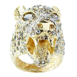 De Buman 18k Gold Plated Marquise-shaped Crystal Ring