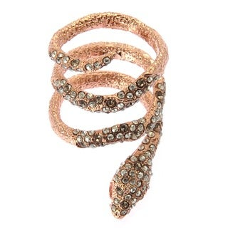 De Buman 18k Rose Gold Plated Round-shaped Crystal 'Snake' Ring